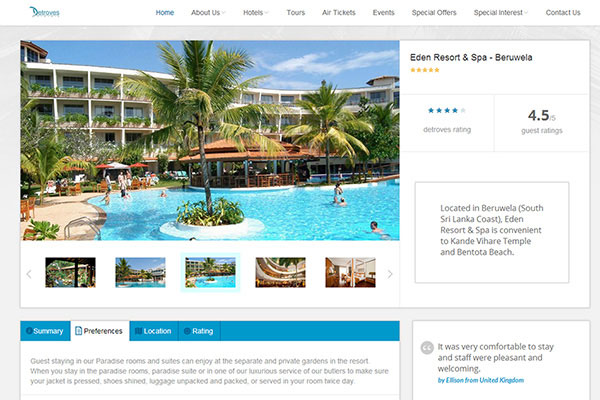 Website concept for Detroves Travels, Sri Lanka.